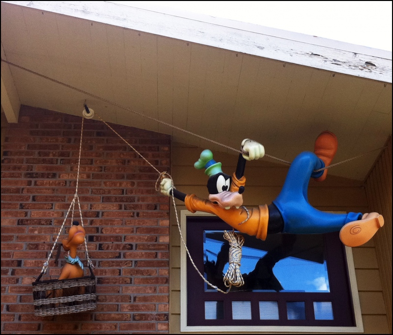 Pluto and Goofy Hanging Around