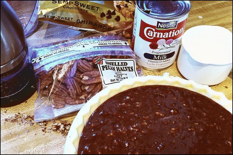 Preparing Chocolate Pecan Pie