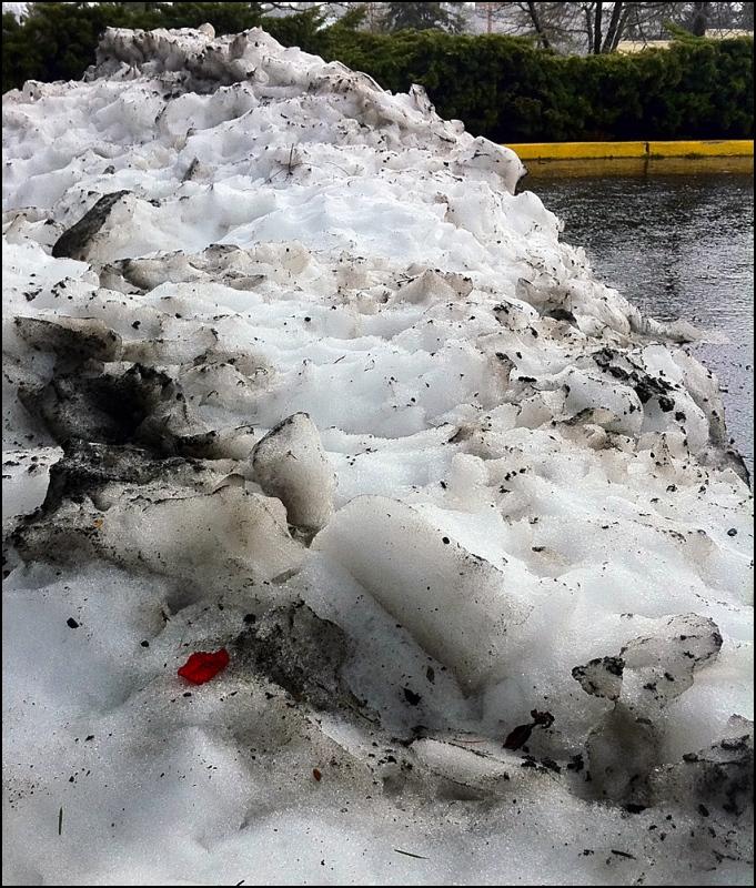 Snow Mound In Parking Lot