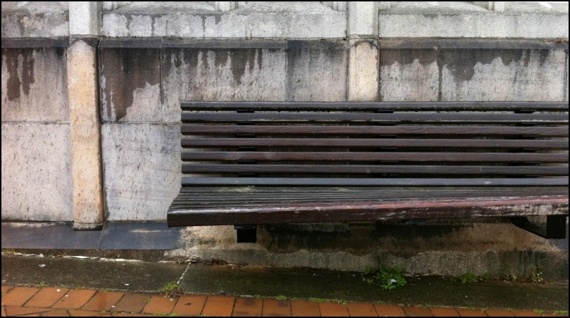 wooden bench in the rain