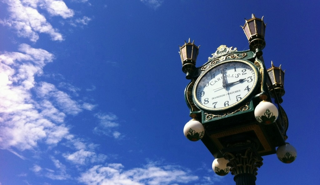 clock against sky